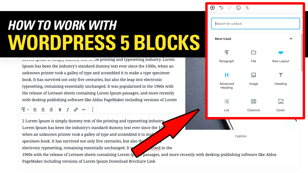 HOW TO USE WORDPRESS 5 new EDITOR GUTENBERG Basic Feature Tutorial