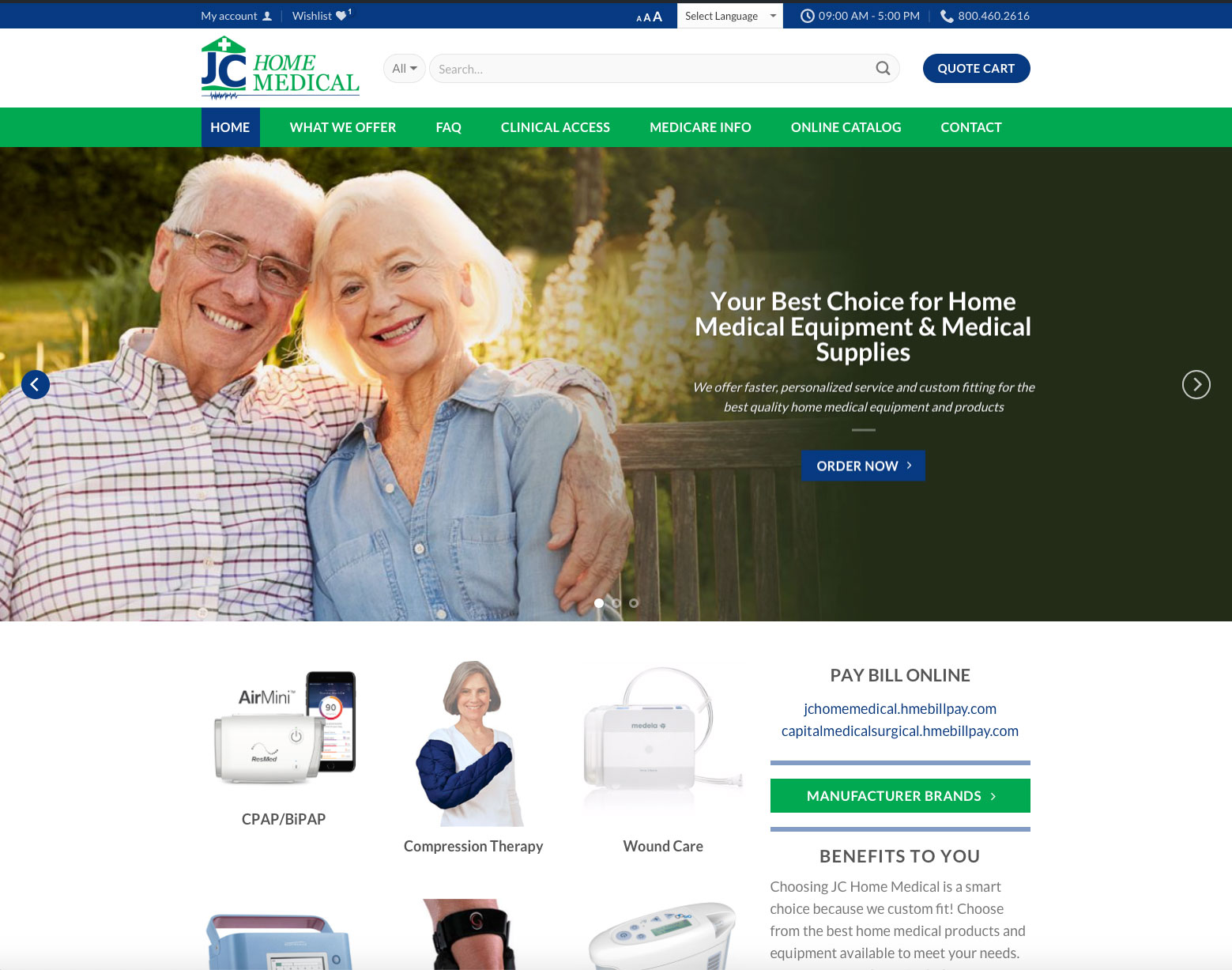 JC home medical website graphic