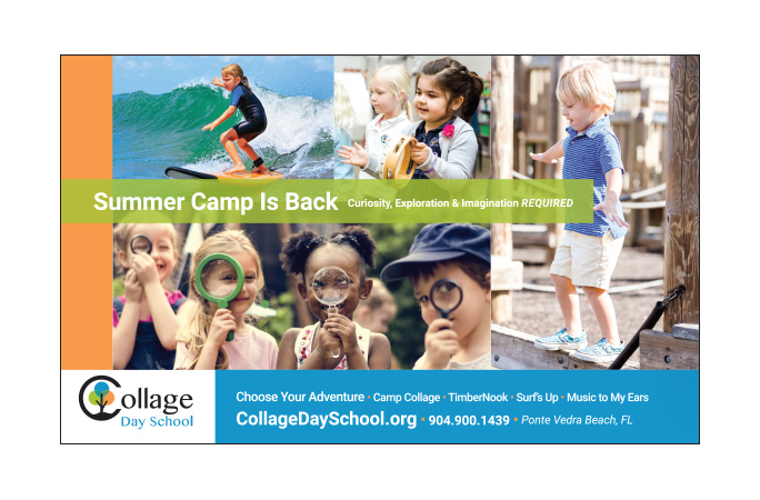 Collage Ad Design Jax Mag half page Summer Camp 8x4