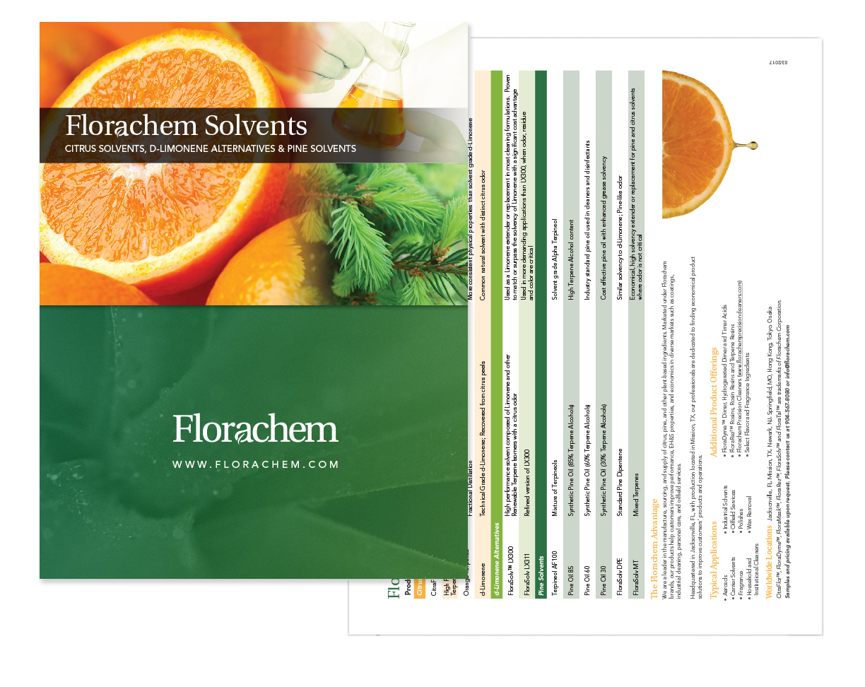 Florachem Solvents brochure design graphic