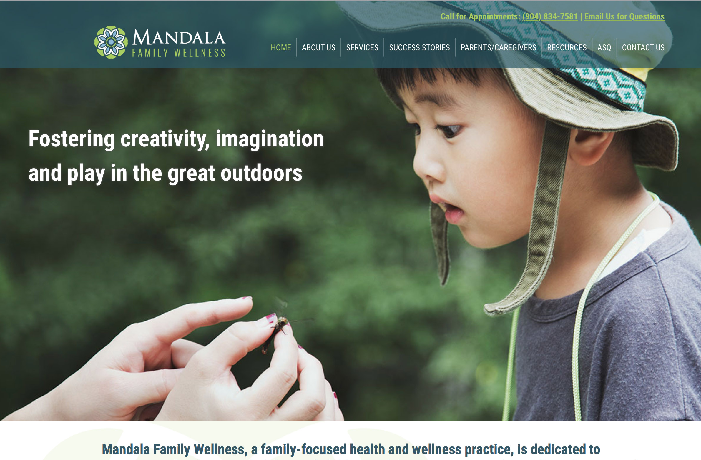 mandala family wellness website design
